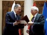 Rueda de prensa del ministro de exteriores Josep y el ruso