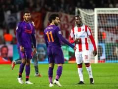 Mohamed Salah, en el partido entre el Estrella Roja y el Liverpool.