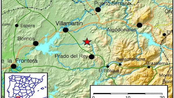Ubicación del epicentro del seísmo de Prado del Rey