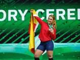 Lydia Valentín celebra su oro mundial en halterofilia