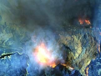 El incendio a vista de satélite