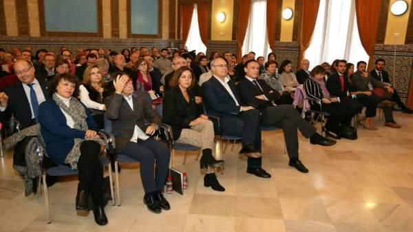 Valenzuela, Aguilar, Ambrosio, Durán y Gómez Villamandos en el homenaje