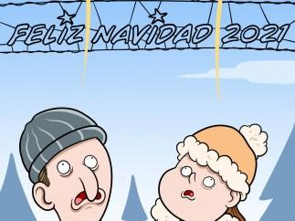 Luces de Navidad, viñeta de Álvaro Terán