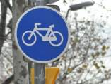 Señal en un carril bici de Barcelona.