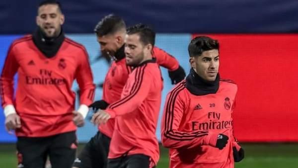 Marco Asensio, en un entrenamiento con el Real Madrid.