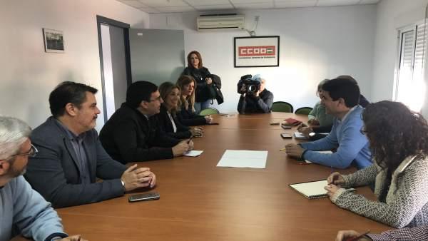El cabeza de lista por el PSOE de Huelva, Mario Jiménez, se reúne con CCOO.