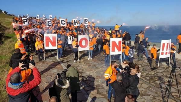 Protesta de trabajadores de Alcoa este sábado en A Coruña