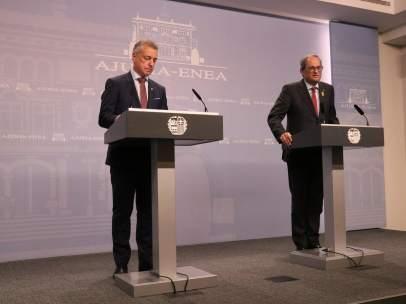 El lehendakari vasco, Iñigo Urkullu, y el president de la Generalitat, Quim Torra, en el palacio de Ajuria Enea.