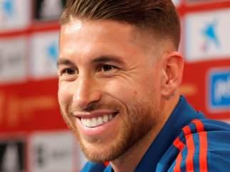 Sergio Ramos, en rueda de prensa con la Selección española.