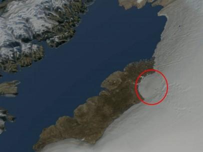 Imágenes recreadas del cráter gigante en Groenlandia