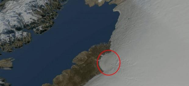 Hallan en Groenlandia un cráter del tamaño de París causado por el impacto de un meteorito