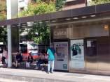Marquesina del metro de Granada en campaña de divulgación de la ciencia