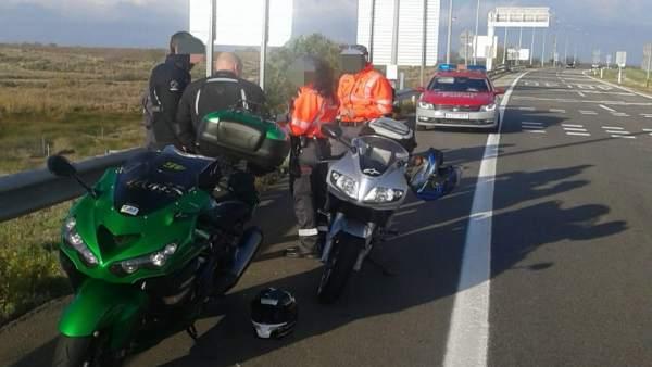 La Policía Foral denuncia a tres motoristas en la AP-15