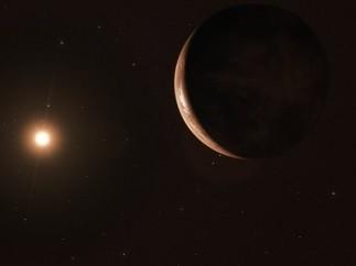 Recreación del planeta Barnard B con su estrella