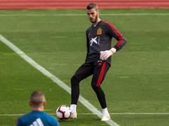 David de Gea, entrenando con la Selección española.