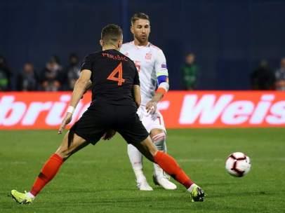 Sergio Ramos, en el partido entre Croacia y España.