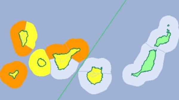 Avisos naranja y amarillo por olas, viento y lluvia