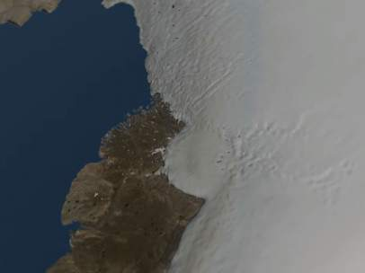 Un cráter bajo el hielo de Groenlandia