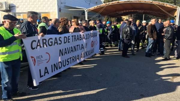 Trabajadores de astilleros de Puerto Real en protesta