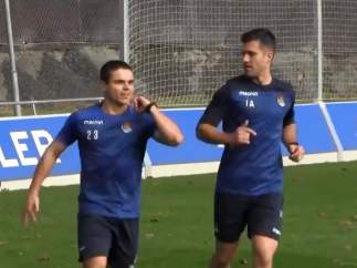 Luca Sangalli vuelve a entrenarse con la Real 20 días después de su ictus