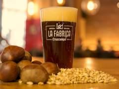 Cerveza Cruzcampo ahumada con castañas
