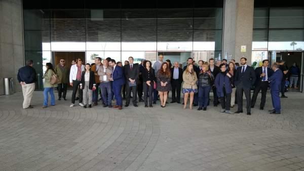 Jueces que han secundado la huelga en la Ciudad de la Justicia de Las Palmas