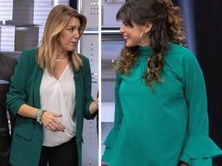 Susana Díaz y Teresa Rodríguez se visten de los colores de la bandera andaluza en el primer debate de las elecciones