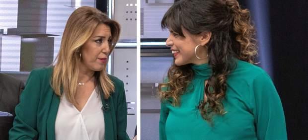 Susana Díaz y Teresa Rodríguez se visten de los colores de la bandera andaluza en el primer ...