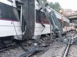 Tren descarrilado en Vacarisses (Barcelona)
