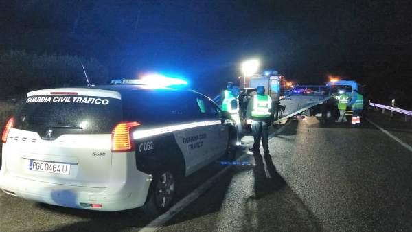 Accidente en la A-401, en Úbeda, donde han muerto cuatro jóvenes de Jódar.