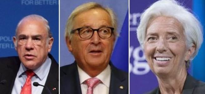 Gurría (OCDE), Juncker (CE) y Largade (FMI).
