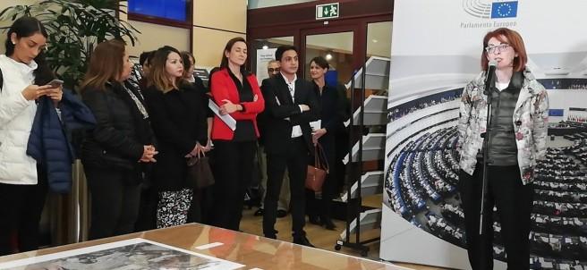 La eurodiputada Maite Pagazaurtundúa, en la inauguración de la exposición del 30 aniversario del Premio Sajarov