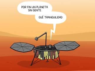 'La sonda 'Insight' llega a Marte', viñeta de Álvaro Terán.