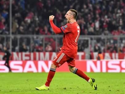 Ribery celebra un gol.