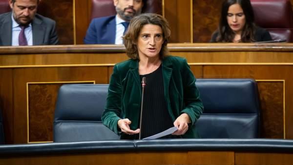 La ministra de Transición Ecológica, Teresa Ribera, en el Congreso