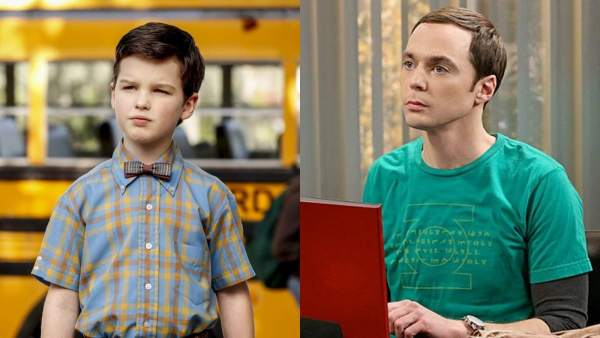 Sheldon en 'El joven Sheldon' y en 'The Big Bang Theory'
