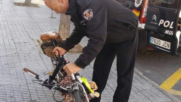 Bicicleta que montaba el detenido y había sido sustraída poco antes