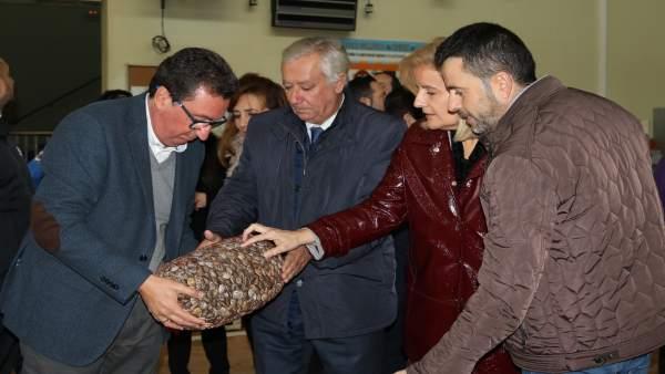 Representantes del PP visitan la lonja de Punta Umbría (Huelva).