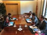Reunión del vicepresidente P.Aragonès con J.Albiach y D.Cid (CatECP).