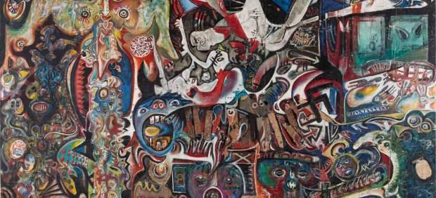 Enrico Baj, Roberto Crippa, Gianni Dova, Erro, Jean-Jacques Lebel, Antonio Recalcati. Grand tableau antifasciste collectif, 1960