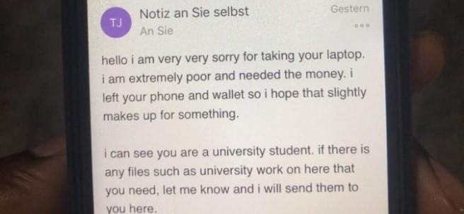 El mensaje de un ladrón al sueño del portátil robado