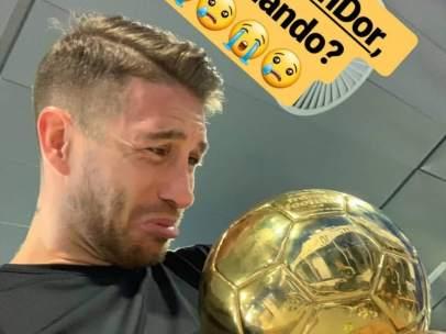 Sergio Ramos, con el Balón de Oro