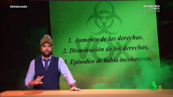 Dani Mateo, en 'El intermedio', y el 'virus de Vox'.