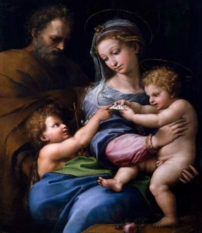 Virgen de la rosa, de Rafael Sanzio. Museo Nacional del Prado.