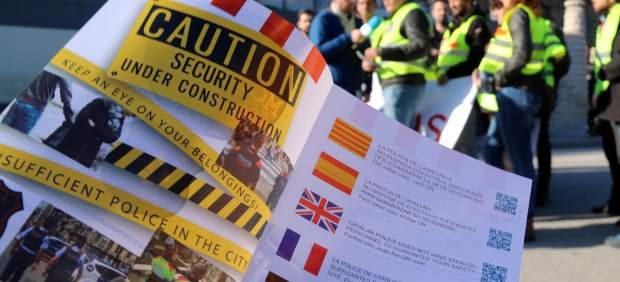 Folleto de protesta de los Mossos d'Esquadra.
