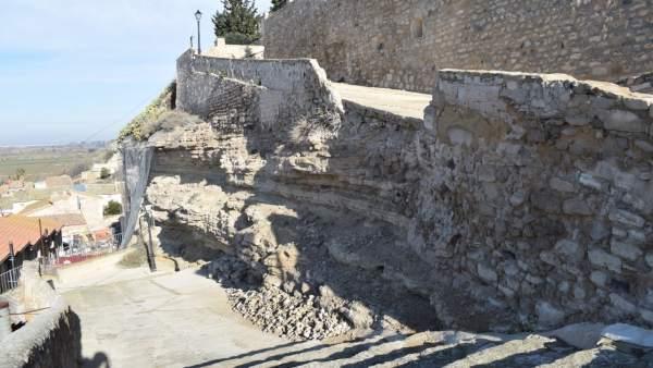 Zona del derrumbe en Velilla de Ebro