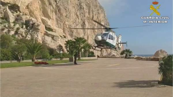 Helicóptero que participó en el rescate