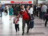 Aficionados de River Plate viajando a Madrid.