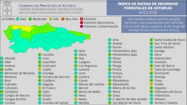 Mapa del índice de riesgo por incendios forestales en Asturias.
