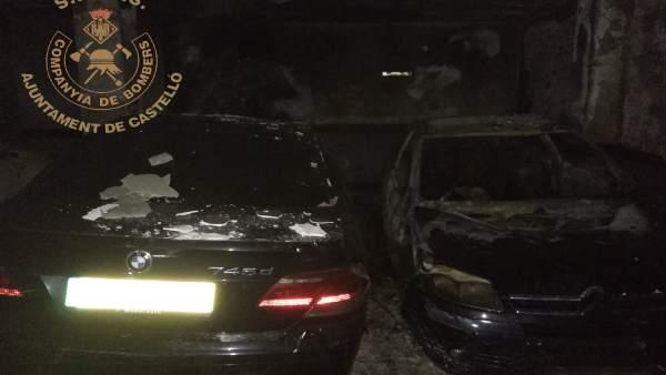 Incendio en un garaje en Castellón con 31 vehículos afectados